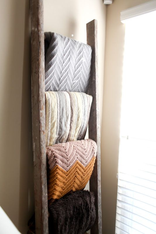 old ladder= blanket storage, perfect in my living room