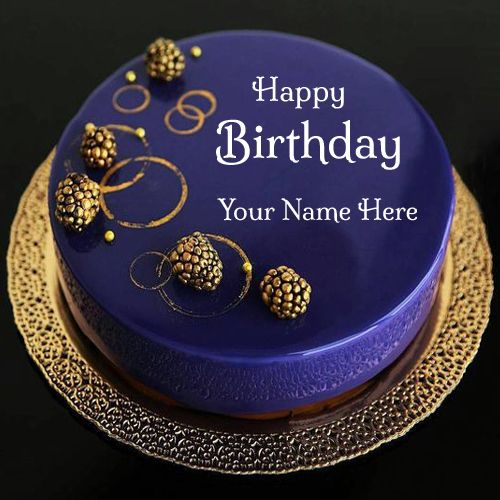 Happy Birthday Royal Blue Designer Cake With Your Name.Print Name on Round Cake.Expensive Bday Cake With Name.Name Birthday Card Maker.Beautiful Cake For Bday