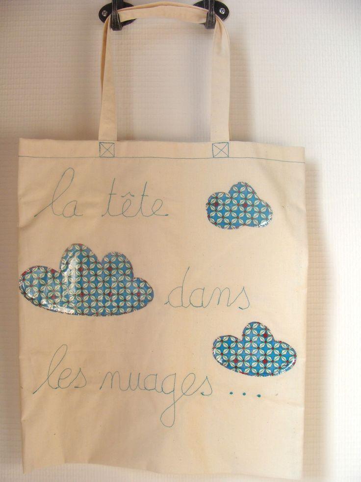 """Sac """"tote"""" toile coton brut écru décoré nuages : Autres sacs par les-p-tites-cueillettes"""