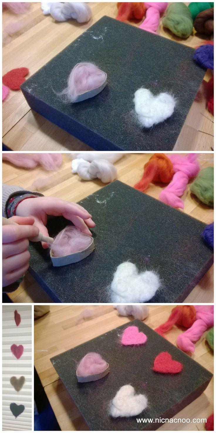 Needle Felted Hearts Mobile - Great project for beginners and children