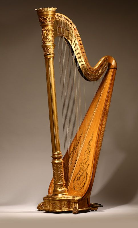 Lot# 1143  A Lyon & Healy Style 22 Gold semi-grand parcel-gilt maple 46 string harp