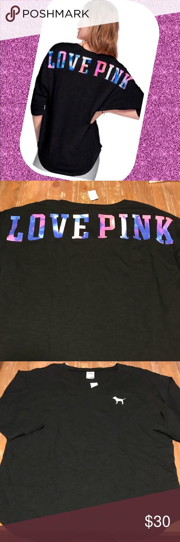 NEW VS PINK Boyfriend Jersey Tee New with tags Victoria's Secret Pink Boyfriend Jersey Multicolor Pink logo across the back  3/4 length sleeve  Relaxed fit PINK Victoria's Secret Tops Tees - Short Sleeve