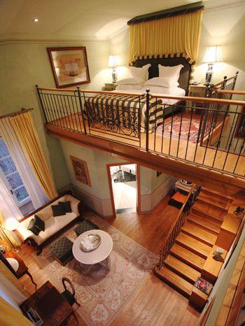lofted bedroom suite.