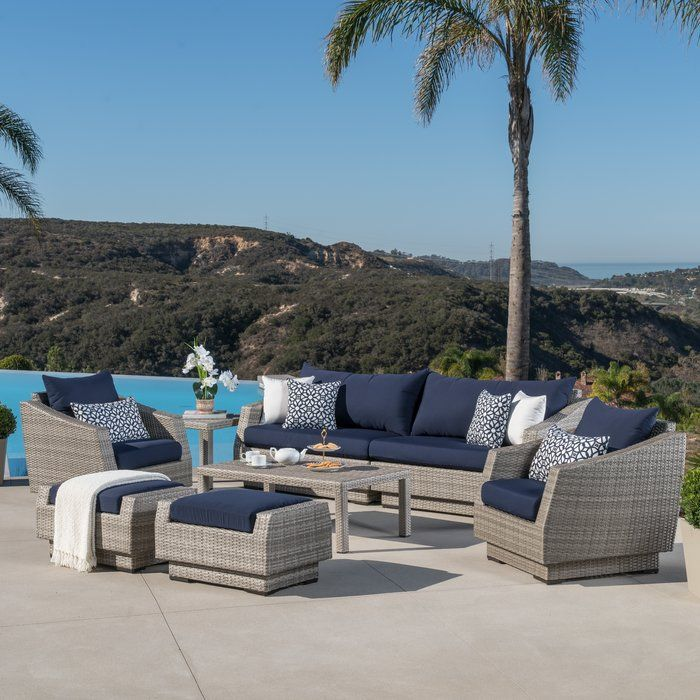 Fincher 8 Piece Sofa Set With Cushions Conversation Set Patio Clearance Patio Furniture Outdoor Sofa Sets