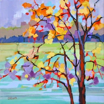 """Daily Painters Abstract Gallery: Contemporary landscape painting of a tree """"November Pause"""" by Carolee Clark, Oregon Artist"""