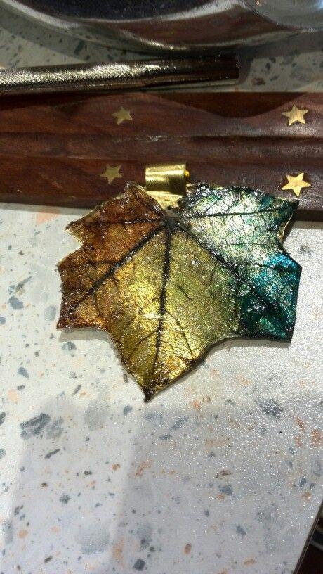 Skeleton leaf,alcohol ink and brass