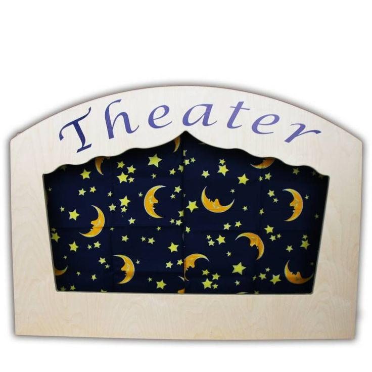 Tover de kamer om in een theater en zet deze mooie poppenkast op tafel. Nu nog enkele poppenkastpoppen, een poppenspeler en wat publiek...De speelruimte van de poppenkast is even groot als die van een gewone poppenkast. Bovenaan zijn er 2 houten staven voorzien voor de gordijntjes en een decor. 2 mooie donkerblauwe gordijnen met manen en sterren, alsook een wit achtergrondgordijn krijg je erbij!Dit theater bezorgt kinderen en volwassenen uren speelplezier!
