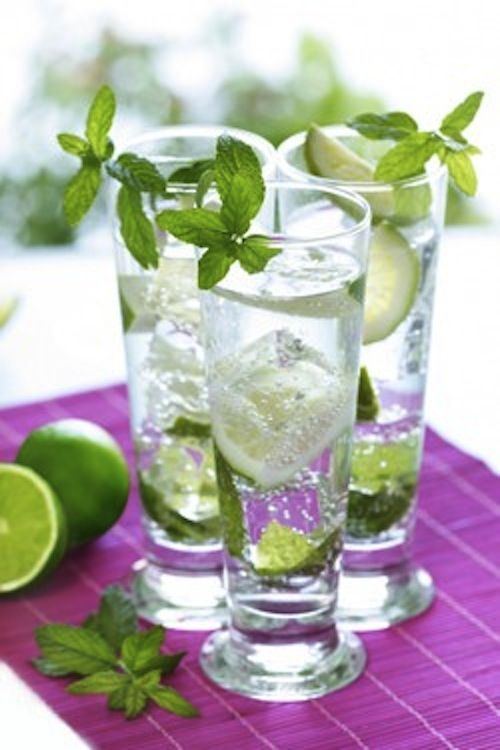 Skinny Mojito ~ Twist 6-8 fresh mint leaves (releases the natural oils) & drop them in a tall glass.  Hand squeeze lime halves over the mint leaves & then drop the limes in over the leaves. Muddle the mint leaves & limes lightly for 10-15 seconds.  Add a tablespoon of Truvia (Natural sweetener) & fill the glass with shaved ice.  From there, add 2 ounces of a light white or silver rum. Top with soda water & gently stir!!!