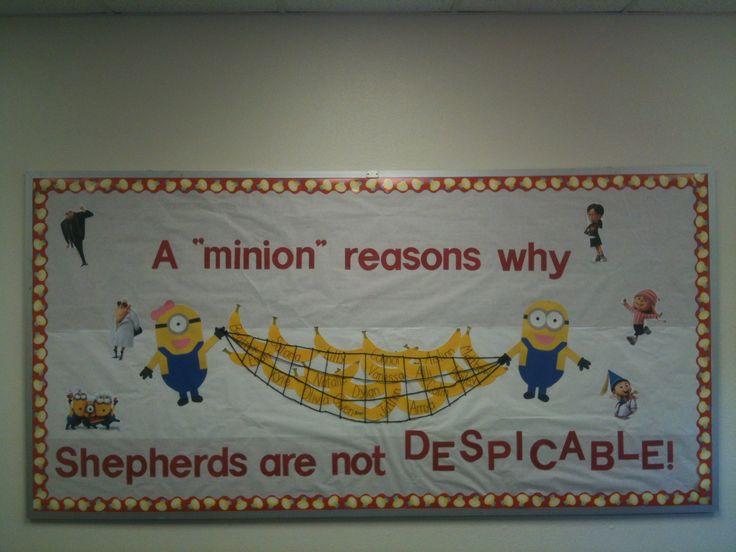 Completed Minion/Despicable Me bulletin board for my after school class