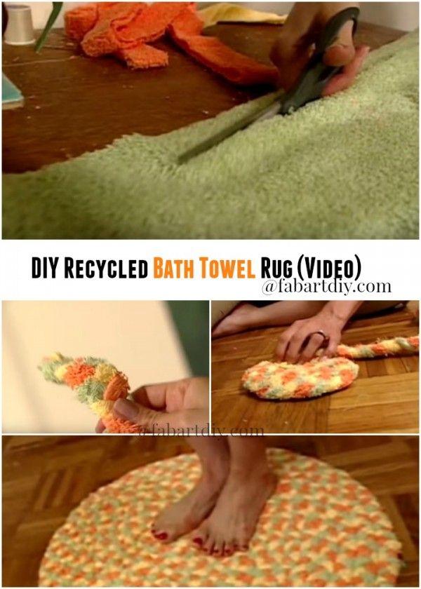 DIY Recycled Bath Towel Rug (Video) - http://theperfectdiy.com/diy-recycled-bath-towel-rug-video/ #DIY