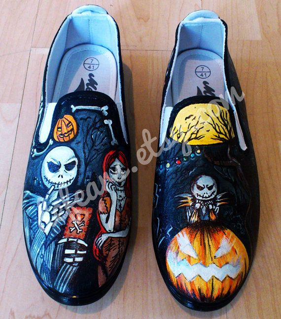 WANT WANT WANT  Nightmare Before Christmas Hand Painted Pumps by DefEars on Etsy, $65
