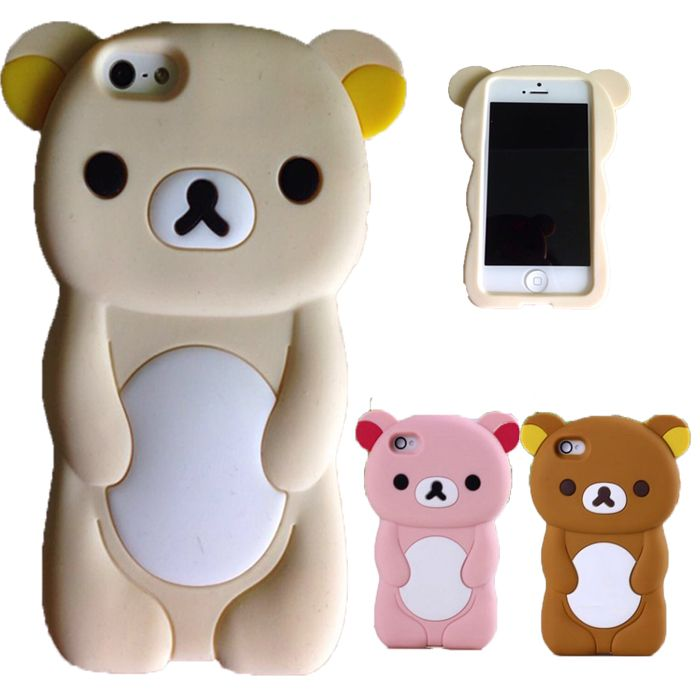 Coque For iPhone 5C Case Silicon 3D Cute Brown Bear Rilakkuma Case Cover For iPhone 5C 5 C Case Capa Funda Protector Cases
