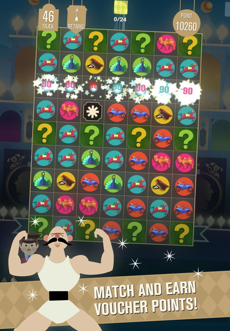 Match and earn voucher points with the Strong Man!  While you switch and match you'll earn voucher points that can be used in the Tivoli Puzzle voucher shop on real products and experiences.  #casual #games #puzzle #Tivoli