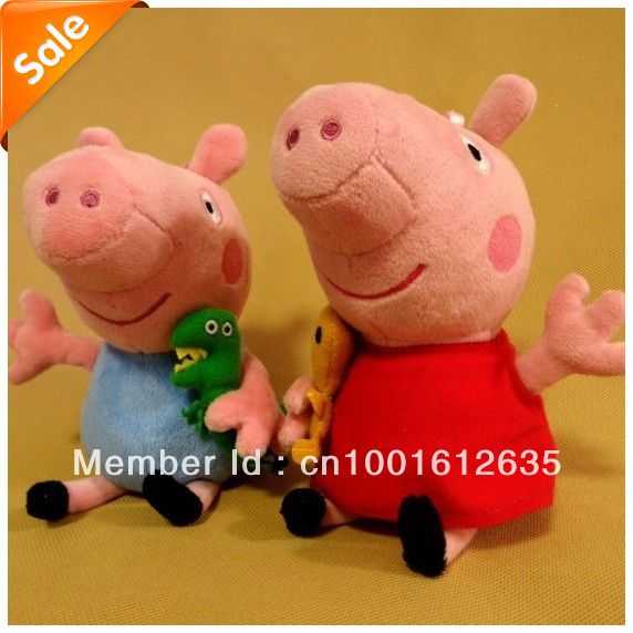 2013 brand new 2 pieces baby kids peppa pig plush toys george pig dolls anime peppa pig toys sale for christmas birthday bk467-in Movies & T...