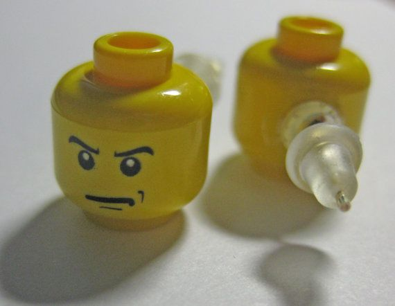 Cute LEGO Angry Face Head Earrings.  I have to make these for me and the girls if we ever make it to Lego land!!!