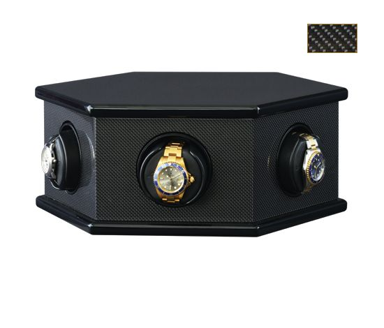 ORBITA CAROLO 6 WATCHWINDER -  The CAROLO™ Watch winder for six watches is based on a unique carousel design. The hexagonal case is mounted on a ball-bearing swivel which allows the case to be rotated by hand. It is the perfect winder for use where space is limited. Needing only sixteen inches of depth, it is ideal for use in safes, shallow cabinets, shelving, etc.  FIND OUT MORE: http://www.orbita.com/2013/02/carolo/
