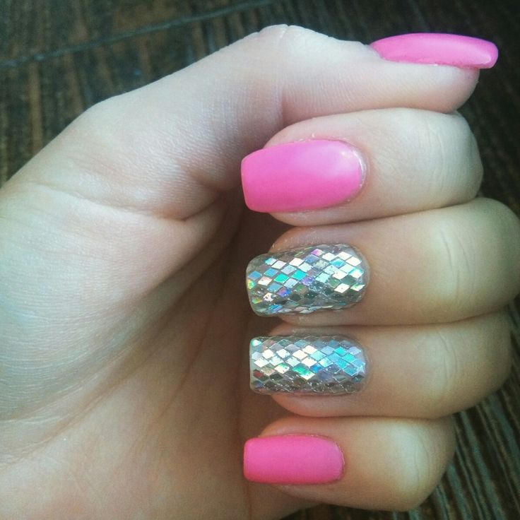 pink matte nails with holographic diamonds accent