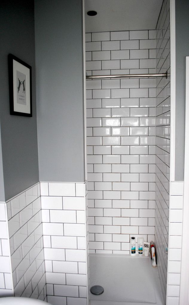 Bathroom idea - Grey bathroom with walk-in shower and white subway tiles, as seen on The Spirited Puddle Jumper Blog #interiors