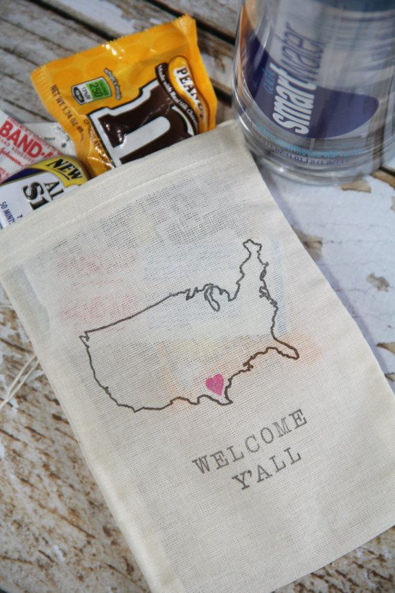 10 Welcome Kit bags out of town guest gift, hotel welcome bags, destination wedding favors for any US location By ChiliAndPeaches on Etsy