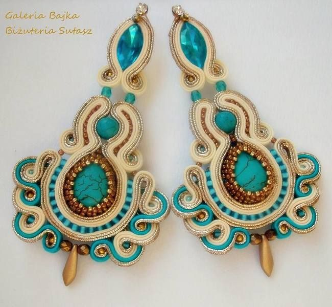 """Kolczyki sutasz (soutache)  """"Madame Pompadour"""""""" w Galeria Bajka Soutache Jewelry na DaWanda.com"""