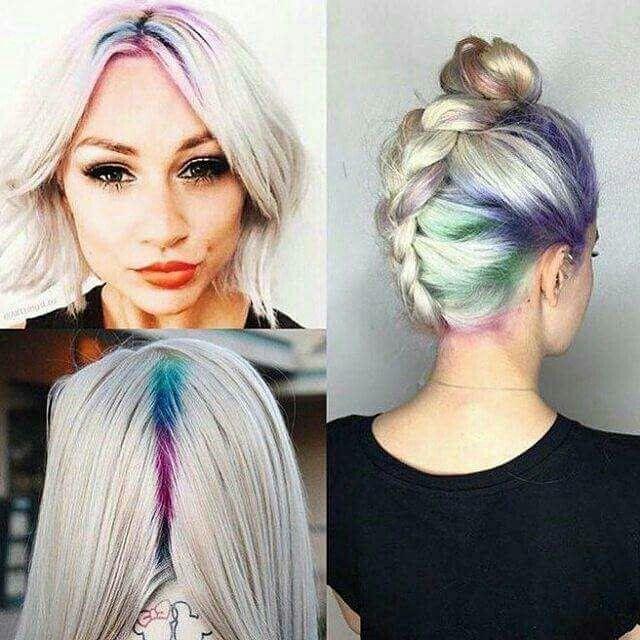 Rainbow roots with platinum blonde short hair.