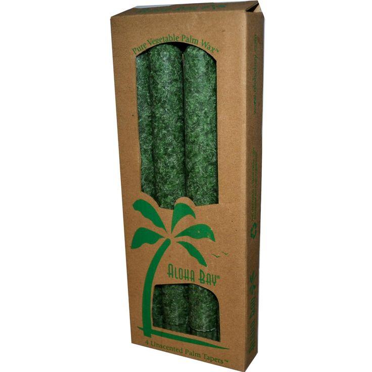 Aloha Bay, Свечи конические из пальмового воска , Без запаха, Зеленые 4 упаковки, 9 дюймов (23 см) каждая Пальмовый воск действительно сильно отличается от парафина и стеарина. И даже внешний вид намного интересней из-за зернистой неоднородной структуры пальмового воска