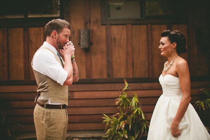 Fotos da reação do noivo ao ver a noiva pela primeira vez