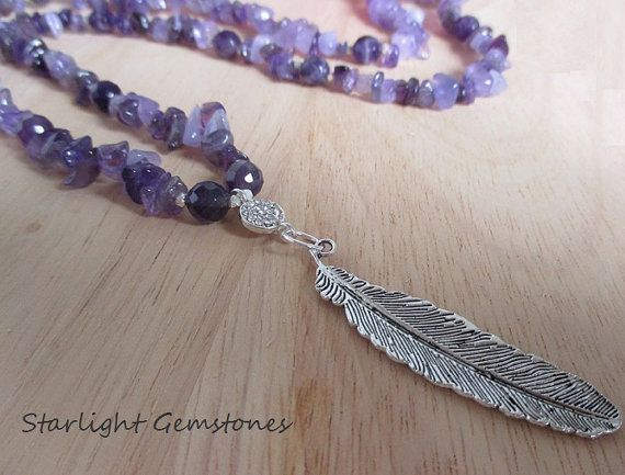 """""""Divine Connection"""" - Beautiful Amethyst Gemstone Necklace with Hill Tribe Sterling Silver & Antique Silver Leaf pendant."""