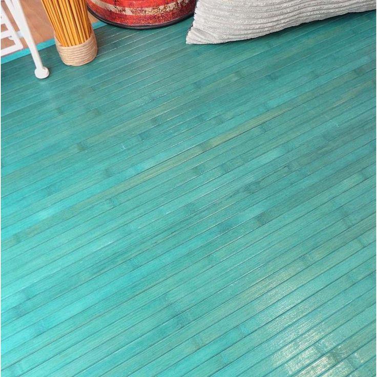 Preciosa alfombra de bamb en color turquesa nos gustan - Alfombras de bambu a medida ...