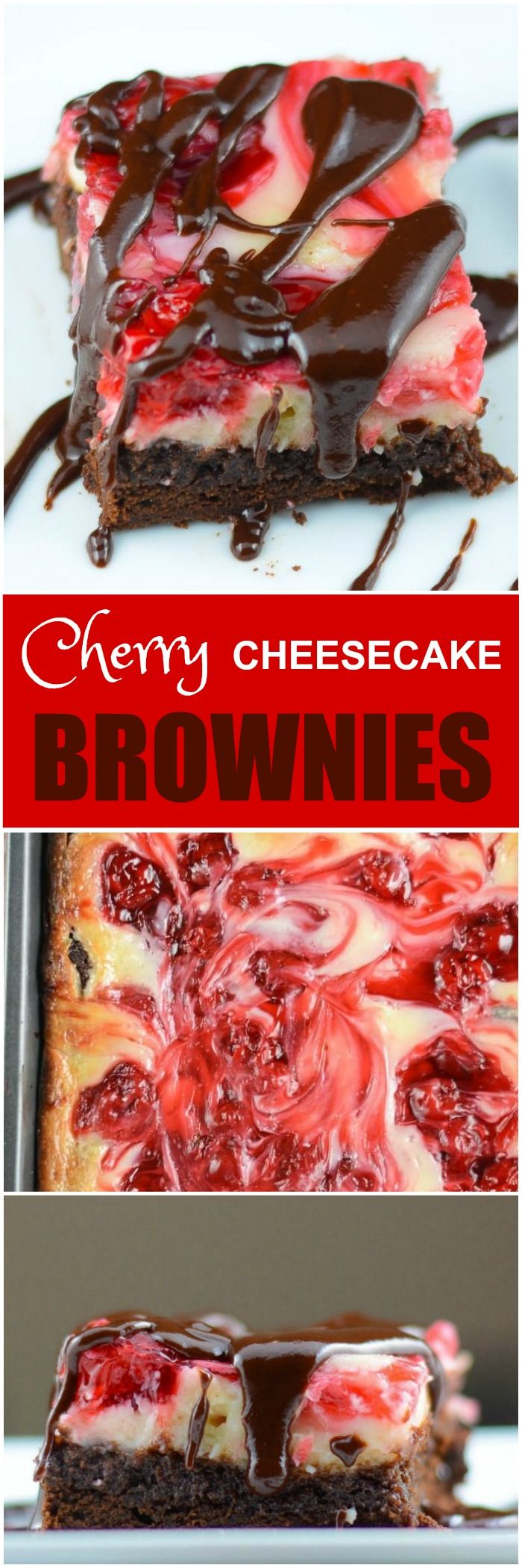 Rich, chocolatey brownies with a sweet creamy cheesecake swirled with cherries for Cherry Cheesecake Brownies, which are 3 desserts in one.
