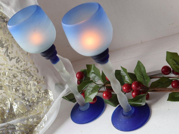 Frosted glass twisted stem pair of blue candle holders, 9.5 inch, table center piece, housewarming gift, Christmas table, wedding gift, by BitsnBobsnKeepsakes on Etsy