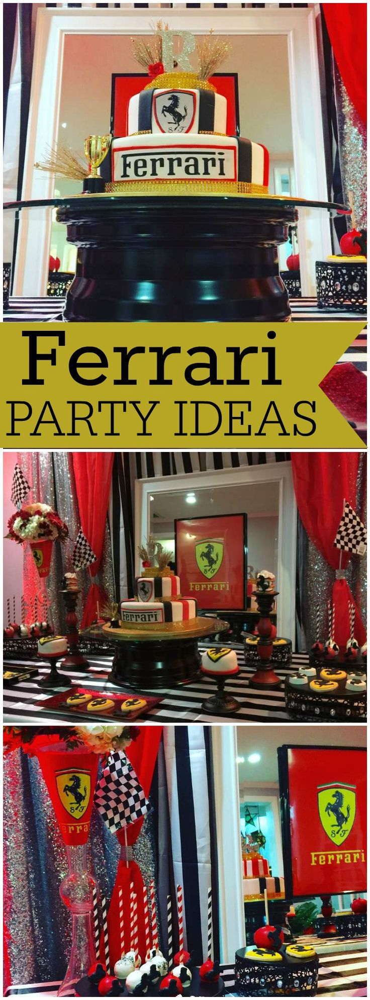 How cool is this Ferrari themed birthday party?! See more party ideas at CatchMyParty.com!