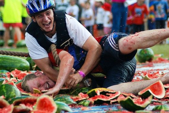Queensland bucket list   26. Strap a watermelon helmet on your head and go watermelon skiing at the wacky Chinchilla Melon Festival, held every two years.