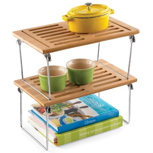 Small Bamboo Stackable Shelf Mcm Mix Kitchen Pinterest Shelves Stacking And