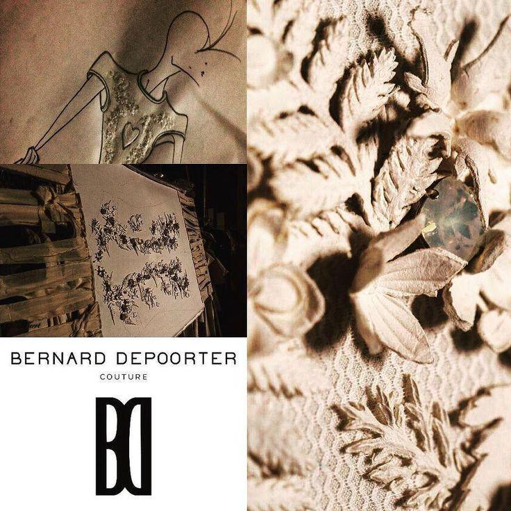 Détail d'un modèle de la prochaine collection couture et Prêt-à-porter Depoorter 2016  broderie de cuir à Suivre ..…
