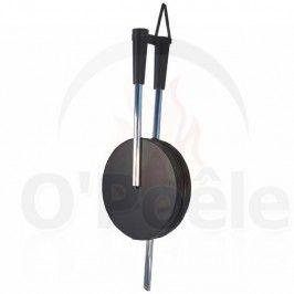 Soufflet noir tube inox en bois et cuir    +-80