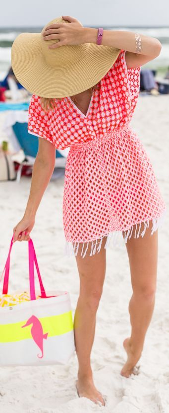 Basta Surf Neon Coral / White Geometric Embroidered Eyelet Beach Tunic Dress by A Piece Of Toast
