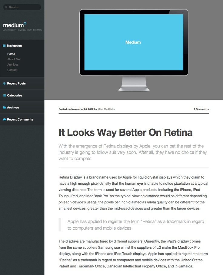 Medium WordPress Theme.