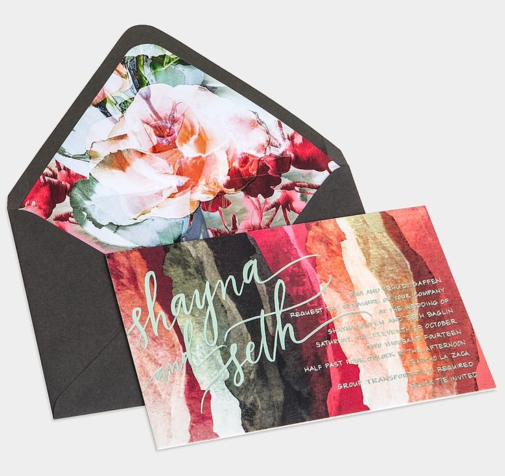 LOVE the envelope. Paired with a simple calligraphy invitation in either white, grey, bush or black...