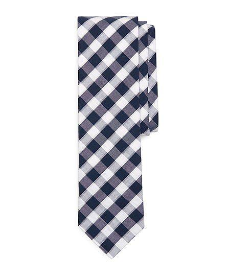 Large Seersucker Gingham Slim Tie - Brooks Brothers