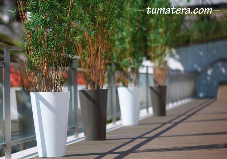 Maceta redonda con forma cónica. La simplicidad de su diseño y su tamaño medio. Encuentralas en: http://www.tumatera.co/products/mpa-3354-sintra/