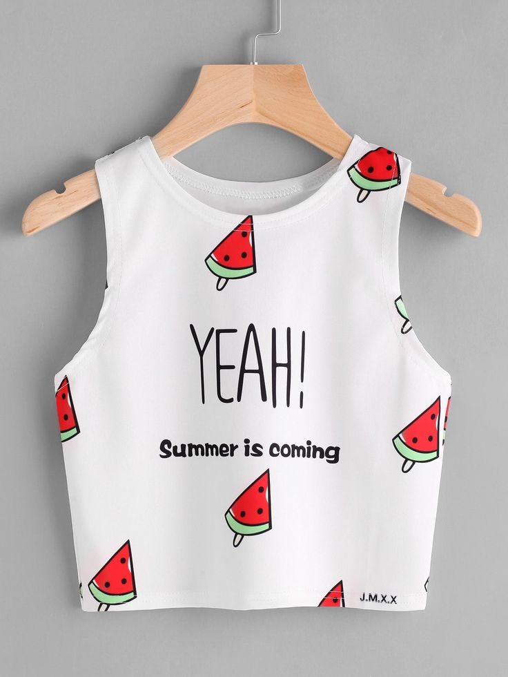 Watermelon And Slogan Print Tank Top