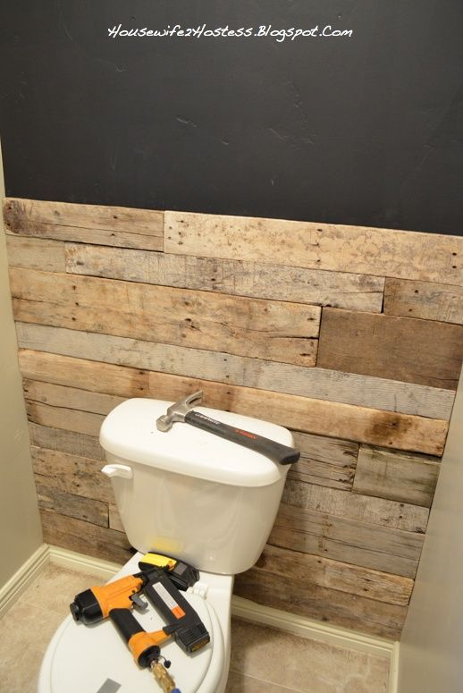 Bathroom Accent Wall- done here in pallett wood. You could even do faux brick.