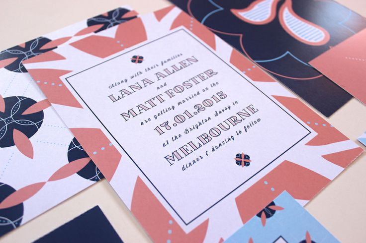 Sweet Peach and Navy and Sky Blue Wedding Invitations, with custom patterns, by Soda Design Studio.