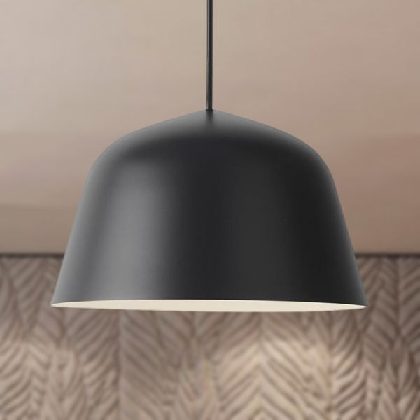 Nordic Style Dome Shade Hanging Ceiling Light 16 Dia 1 Light Metal Pendant Lamp In Black F Metal Pendant Lamps Adjustable Pendant Light Hanging Ceiling Lights