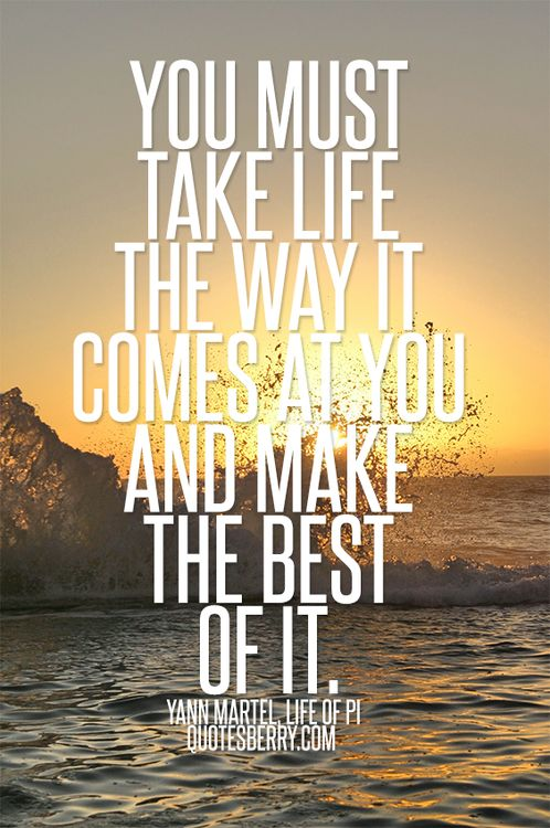 You must take life the way it comes at you inspiring for Life of pi sparknotes