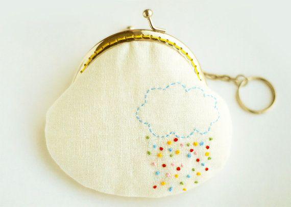Rainbow Rain Embroidery Purse Metal Frame by lazydoll on Etsy