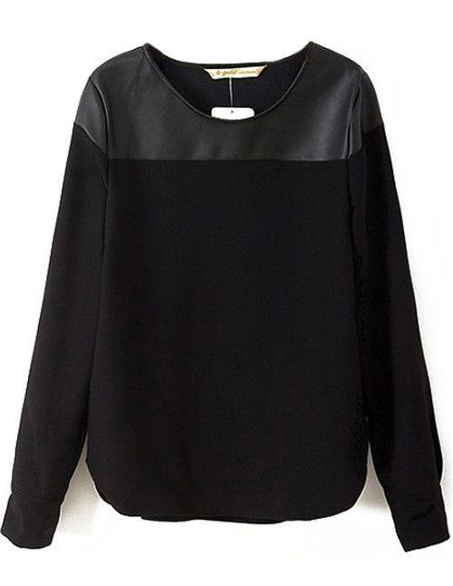 Blusas Femininas 2015 primavera nova marca de moda grife mulheres Casual novidade preto contraste PU de manga comprida blusa em Blusas de Roupas e Acessórios no AliExpress.com | Alibaba Group