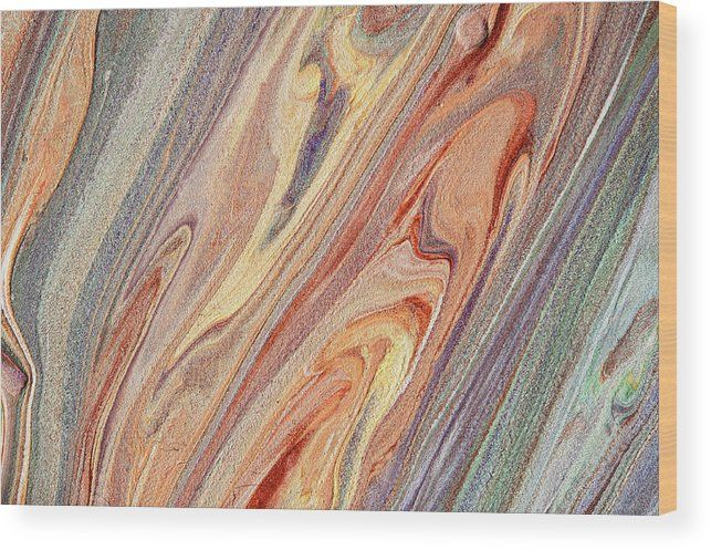 Multicolored Flows. Acrylic Fluid Paints Wood Print by Jenny Rainbow.  All wood prints are professionally printed, packaged, and shipped within 3 - 4 business days and delivered ready-to-hang on your wall. Choose from multiple sizes and mounting options.