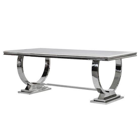 Marble And Stainless Steel Dining Table